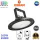 Светодиодный светильник-прожектор Osram, 165W, 6500K, 70º, IP65, высотный, подвесной, алюминий + поликарбонат, чёрный, круглый, HIGH BAY, Ra≥80. Гарантия - 5 лет