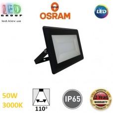 Светодиодный LED прожектор Osram, 50W, 3000K, 110º, IP65, алюминий + стекло, чёрный, ECO FLOODLIGHT, Ra≥80. Гарантия - 2 года