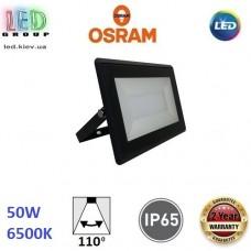 Светодиодный LED прожектор Osram, 50W, 6500K, 110º, IP65, алюминий + стекло, чёрный, ECO FLOODLIGHT, Ra≥80. Гарантия - 2 года