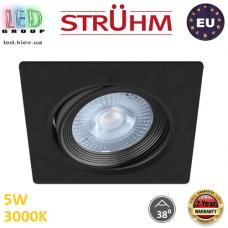 Потолочный светодиодный светильник, Strühm Poland, 5W, 3000K, врезной, пластиковый, квадратный, чёрный, RA≥80, MONI LED D. ЕВРОПА