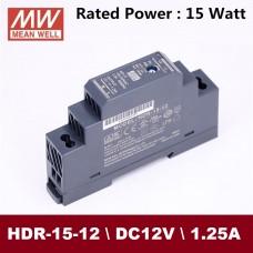 Блок питания 12V, 1.25A, 15W, Mean Well, HDR-15-12, пластиковый корпус, IP20, внутренний. На дин рейку. Гарантия - 3 года.