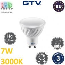 Светодиодная LED лампа GTV, 7W, 3000K, GU10, MR16, диммируемая. ЕВРОПА!!! Гарантия - 3 года