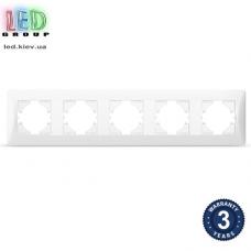 Рамка на пять мест, горизонтальная, пластиковая, белая