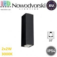 Настенный светодиодный светильник, Nowodvorski LENS LED 9112, 2х2W, 3000K, IP54, RA≥80, накладной, алюминий, чёрный. ЕВРОПА!