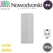 Настенный светодиодный светильник, Nowodvorski LENS LED 9113, 2х2W, 3000K, IP54, RA≥80, накладной, алюминий, белый. ЕВРОПА!