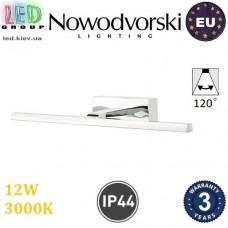 Настенный светодиодный светильник, Nowodvorski VAN GOGH LED M 9347, 12W, 3000K, IP44, RA≥80, накладной, алюминий + РС, цвета хром. ЕВРОПА!