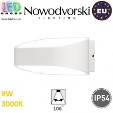 Настенный светодиодный светильник, Nowodvorski HAVANA LED 9511, 9W, 3000K, IP54, RA≥80, накладной, алюминий, белый. ЕВРОПА!