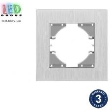 Одинарная рамка, горизонтальная, алюминиевая, серебристая