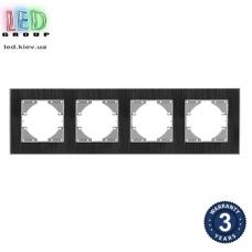 Рамка на четыре места, горизонтальная, алюминиевая, чёрная