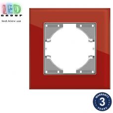 Одинарная рамка, горизонтальная, стеклянная, красная