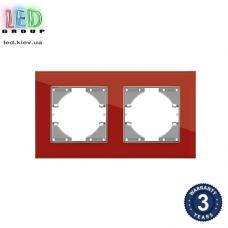 Рамка на два места, горизонтальная, стеклянная, красная