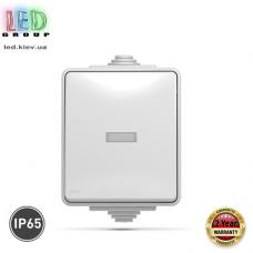 Выключатель одноклавишный, наружный, с подсветкой, IP65, серый