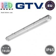 Корпус для ламп Т8, GTV, IP65, накладной, одностороннее подключение, серый, 2х1200мм, G-TECH. ЕВРОПА!