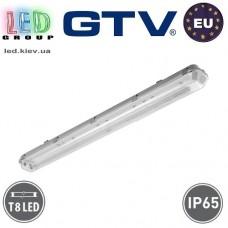 Корпус для ламп Т8, GTV, IP65, накладной, одностороннее подключение, серый, 1х1200мм, G-TECH. ЕВРОПА!