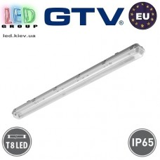 Корпус для ламп Т8, GTV, IP65, накладной, одностороннее подключение, серый, 1х1500мм, G-TECH. ЕВРОПА!
