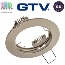 Потолочный светильник/корпус, GTV, встраиваемый, алюминиевый, круглый, инокс, PORTO. ЕВРОПА!