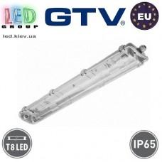 Корпус светильника для ламп Т8, GTV, IP65, накладной, одностороннее подключение, белый, 2х600мм, LOTUS. ЕВРОПА!