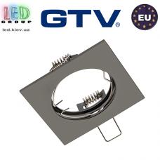 Потолочный светильник/корпус, GTV, встраиваемый, не регулируемый угол, алюминиевый, квадратный, чёрный хром, PORTO. ЕВРОПА!