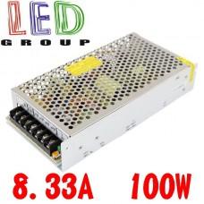 Блок питания 12V, 100W, 8.33А, металлический корпус, IP20, не герметичный, для внутреннего применения