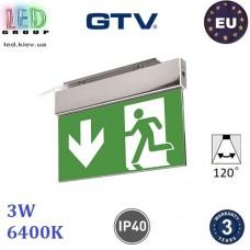 Аварийный светодиодный LED светильник GTV, 3W, 6400K, 250Lm, аккумулятор - на 1 час, алюминий + PC, Ra≥80, SALED. ЕВРОПА!