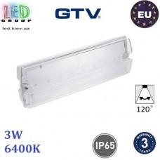 Аварийный светодиодный LED светильник GTV, 3W, 6400K, 250Lm, IP65, аккумулятор - на 3 часа, пластик, Ra≥80, TERNO. ЕВРОПА!