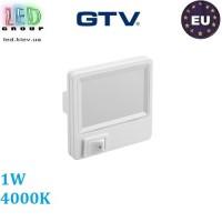 Светодиодный светильник GTV, 1W, 4000К, ночник в розетку, пластик, белый, ML5. ЕВРОПА!!!