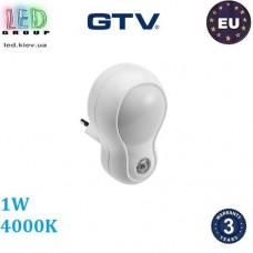 Светодиодный светильник GTV, 1W, 4000К, ночник в розетку, с датчиком сумерек, пластик, белый, ML4. ЕВРОПА!!! Гарантия - 3 года