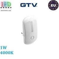 Светодиодный светильник GTV, 1W, 4000К, ночник в розетку, пластик, белый, ML2. ЕВРОПА!!!