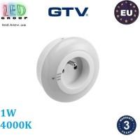 Светодиодный LED светильник GTV, 1W, 4000К, ночник в розетку, с датчиком сумерек, пластик, белый, ML1. ЕВРОПА!!! Гарантия - 3 года