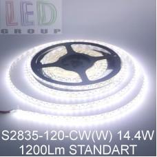 Светодиодная лента 12V, 2835, 120 led/m, 14.4W, IP65, 1200Lm, 6500K - белый холодный, Standart. Гарантия - 12 месяцев