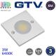 Светодиодный LED светильник GTV, 3W, 6400K, 12V, квадратный, алюминиевый, цвета матовый хром, JOVITA. ЕВРОПА! Гарантия - 3 года