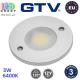 Светодиодный LED светильник GTV, 3W, 6400K, 12V, круглый, алюминиевый, цвета матовый хром, JOVITA. ЕВРОПА! Гарантия - 3 года