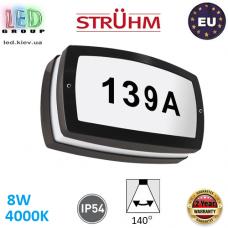Настенный светодиодный светильник для подсветки адреса, Strühm Poland, 8W, 4000K, IP54, накладной, алюминий + поликарбонат, прямоугольный, чёрный, SOLINA LED L. ЕВРОПА
