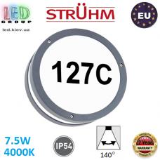 Настенный светодиодный светильник для подсветки адреса, Strühm Poland, 7.5W, 4000K, IP54, накладной, алюминий + поликарбонат, круглый, серый, SOLINA LED C. ЕВРОПА