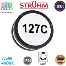 Настенный светодиодный светильник для подсветки адреса, Strühm Poland, 7.5W, 4000K, IP54, накладной, алюминий + поликарбонат, круглый, чёрный, SOLINA LED C. ЕВРОПА