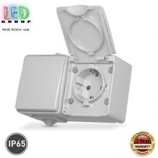 Два в одном: розетка одинарная и выключатель одноклавишный, для наружного применения, IP65, с заземлением и крышкой, серого цвета