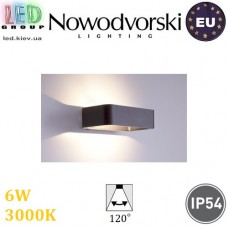 Настенный светодиодный светильник, Nowodvorski MUNO 6776, 6W, 3000K, IP54, накладной, алюминий, цвета графит, RA≥80. ЕВРОПА!