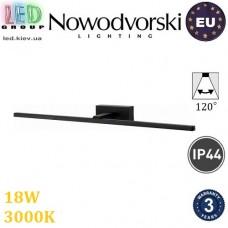 Настенный светодиодный LED светильник, Nowodvorski VAN GOGH LED L 9174, 18W, 3000K, IP44, накладной, алюминий + РС, чёрный, RA≥80. ЕВРОПА!