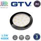 Светодиодный LED светильник GTV, 1.5W, 4000K, 12V, накладной, круглый, пластиковый, чёрный глянцевый, LUMINO. ЕВРОПА! Гарантия - 3 года