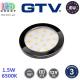 Светодиодный LED светильник GTV, 1.5W, 6500K, 12V, накладной, круглый, пластиковый, чёрный глянцевый, LUMINO. ЕВРОПА! Гарантия - 3 года