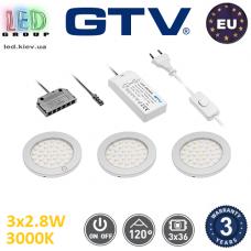 Комплект светодиодных LED светильников GTV, 3шт., 2.8W, 3000K, круглые, пластиковые, цвета матовый хром, CASTELLO. ЕВРОПА! Гарантия - 3 года