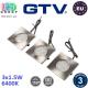 Комплект светодиодных LED светильников GTV, 3шт., 1.5W, 6400K, врезные, квадратные, алюминий + пластик, цвета матовый хром, MARBELLA. ЕВРОПА! Гарантия - 3 года