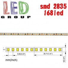 Светодиодная лента 24V, 2835, 168 led/m, 17W, IP20, 1870Lm, 3000K-белый тёплый, Standart. Гарантия - 12 месяцев