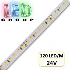 Светодиодная лента 24V, 2835, 120 led/m, 14.4W, IP20, 1950Lm, 4200K-белый нейтральный, PREMIUM. Гарантия - 3 года