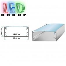 Комплект: профиль алюминиевый АНОДИРОВАННЫЙ ЛП-50 + рассеиватель. 2м профиля + 2м рассеивателя
