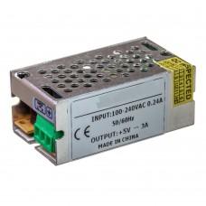 Блок питания 5V, 15W, 3А, металлический корпус, IP20, не герметичный, для внутреннего применения