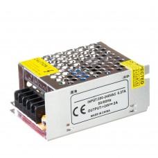 Блок питания 24V, 48W, 2А, металлический корпус, IP20, не герметичный, для внутреннего применения