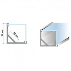 Комплект: профиль алюминиевый АНОДИРОВАННЫЙ ЛСУ-16 с рассеивателем, треугольная линза (2 метра профиля + 2 метра светорассеивателя)