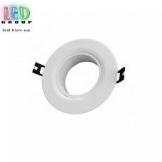 Светильник/корпус потолочный, 1хGU10, встраиваемый, точечный, пластиковый, круглый, белый, Ø90x35мм