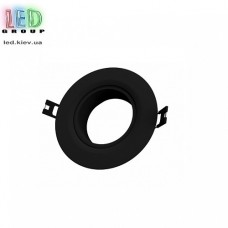 Светильник/корпус потолочный, 1хGU10, встраиваемый, точечный, пластиковый, круглый, чёрный, Ø90x35мм